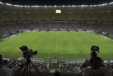A general view of the Arena Amazonia Vivaldo Lima soccer stadium during the inaugural match between the Nacional and Remo clubs in Manaus, March 9, 2014. REUTER/Bruno Kelly