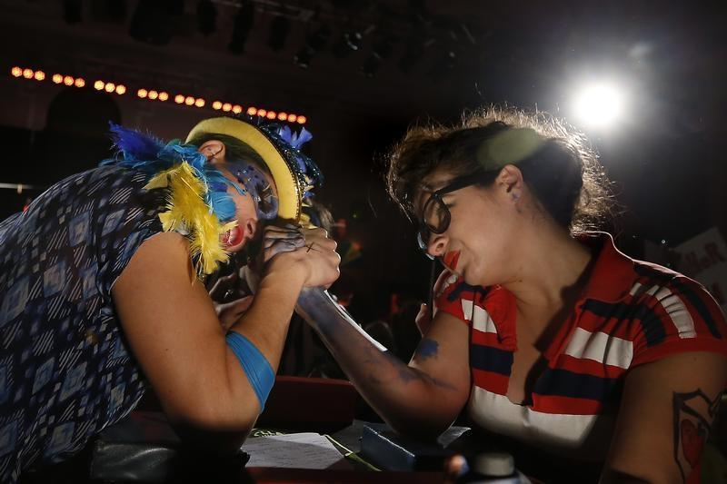 Lady arm wrestlers
