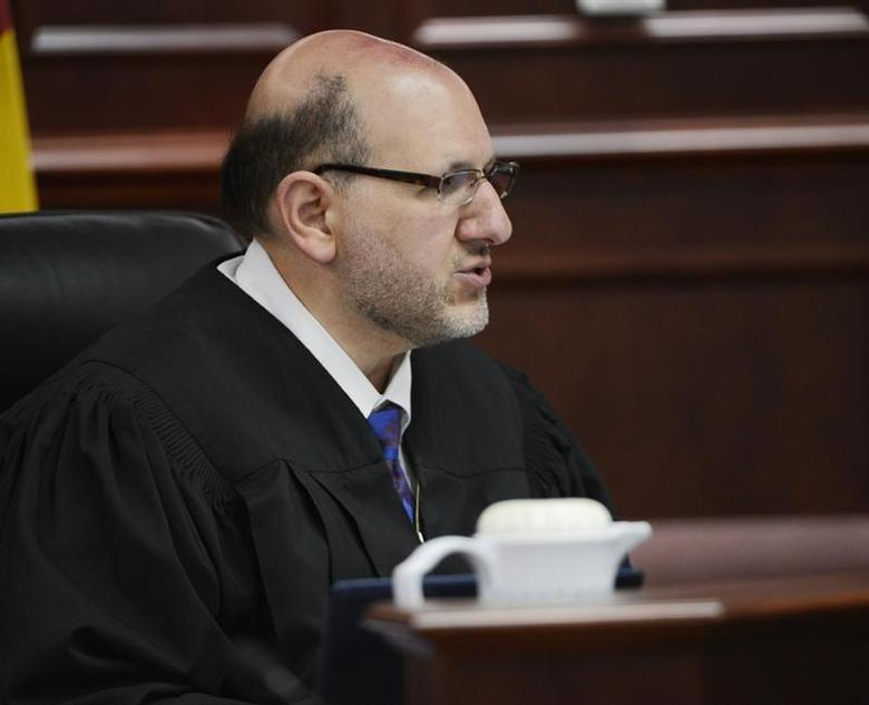 Judge Carlos A. Samour Jr. speaks during a hearing for Aurora theater shooting suspect James Holmes at the Arapahoe County Justice Center in Centennial, Colorado June 4, 2013. REUTERS/Andy Cross/Pool