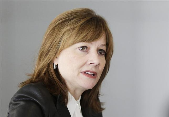 General Motors Co's new chief executive Mary Barra addresses the media during a roundtable meeting with journalists in Detroit, Michigan in this photo taken January 23, 2014. REUTERS/Carlos Osorio/Pool