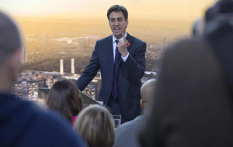 Britain's leader of the opposition Labour party Ed Miliband delivers a speech at Battersea Power Station in London November 5, 2013 file photo. REUTERS/Neil Hall