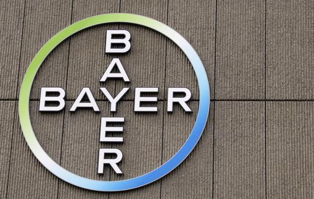 The logo of Germany's largest drugmaker Bayer HealthCare Pharmaceuticals is pictured on the front of its building in Berlin April 28, 2011 file photo. REUTERS/Fabrizio Bensch