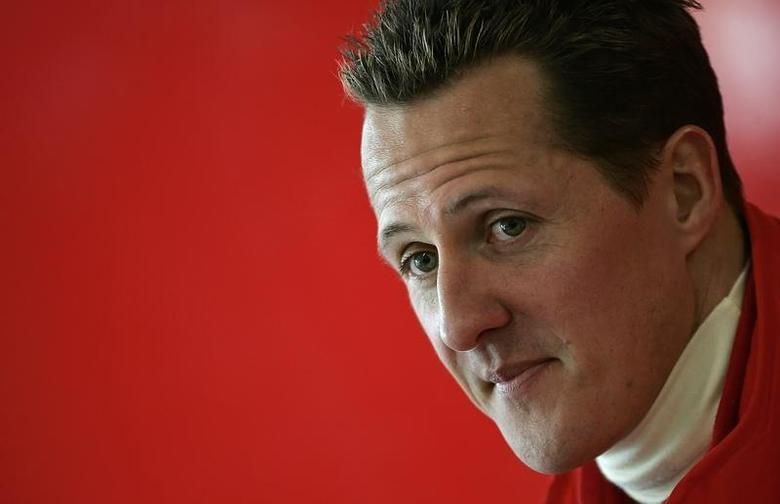 File photo of Michael Schumacher as he looks on during a news conference at the end of the official presentation of the new Ferrari Formula One race car 248 F1 at the Mugello racetrack in Scarperia, central Italy, January 24, 2006. REUTERS/Tony Gentile