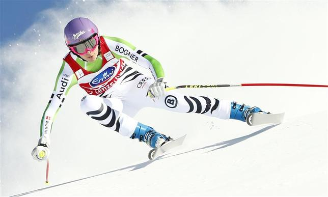 Germany's Maria Hoefl-Riesch skis during the women's downhill event during the FIS Alpine Skiing World Cup finals in the Swiss ski resort of Lenzerheide March 12, 2014. REUTERS/Ruben Sprich