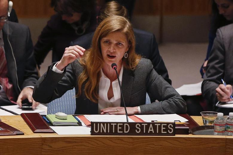 U.S. Ambassador to the United Nations Samantha Power speaks during a Security Council meeting on the crisis in Ukraine, at the U.N. headquarters in New York March 3, 2014. REUTERS/Shannon Stapleton