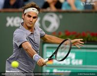 Mar 12, 2014; Indian Wells, CA, USA; Roger Federer (SUI) during his fourth round match against Tommy Haas (not pictured) during the BNP Paribas Open at the Indian Wells Tennis Garden. Federer won 6-4, 6-4. Mandatory Credit: Jayne Kamin-Oncea-USA TODAY Sports - RTR3GUUY