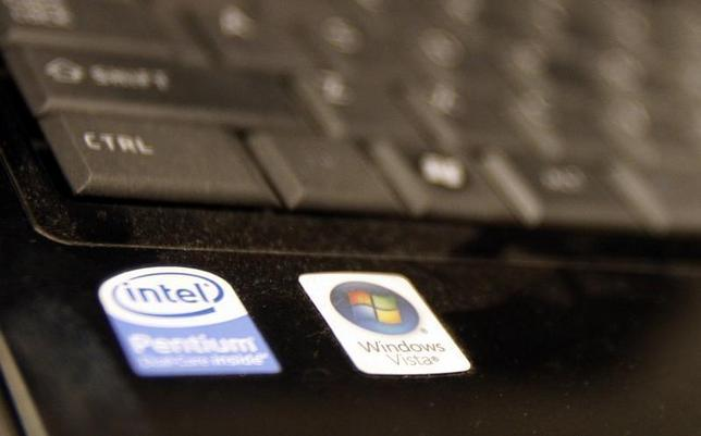 The Intel logo is seen on a computer in New York May 13, 2009. REUTERS/Shannon Stapleton