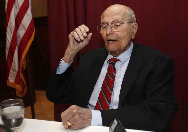 Rep. John Dingell, D-Mich, who replaced his father in the house some 58 years ago, talks with reporters after announcing during a luncheon that he would retire from public office at the end of his current term and would not seek a 31st term in office in Southgate, Michigan February 24, 2014. REUTERS/Rebecca Cook