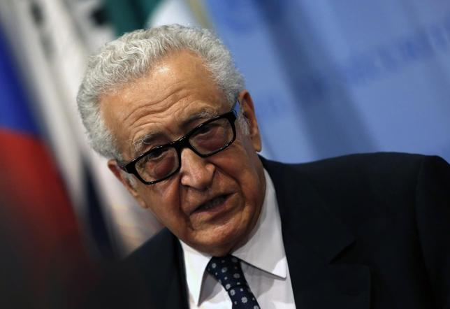 United Nations Special Envoy Lakhdar Brahimi talks to the media after briefing a United Nations Security Council meeting on Syria at U.N. headquarters in New York, March 13, 2014. REUTERS/Mike Segar