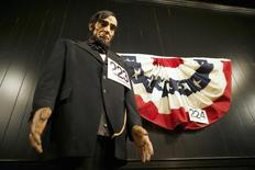 A wax statue of U.S. President Abraham Lincoln is displayed with an auction number at the Gettysburg Museum in Gettysburg, Pennsylvania March 13, 2014. REUTERS/Mark Makela