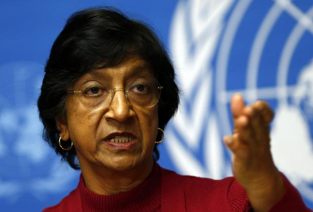 U.N. High Commissioner for Human Rights Navi Pillay gestures during a news conference at the United Nations European headquarters in Geneva December 2, 2013. REUTERS/Denis Balibouse