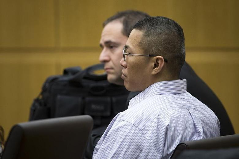 Johnathan Doody listens as he is found guilty of the 1991 execution-style murders of nine people, including six monks, at a Buddhist temple near Phoenix, January 23, 2014. REUTERS/Charlie Leight/The Arizona Republic/Pool