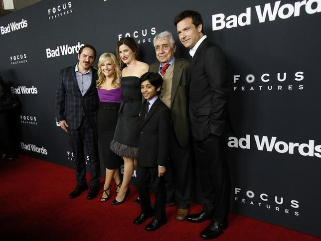 Cast member (from L-R) Ben Falcone, Rachael Harris, Kathryn Hahn, Rohan Chand, Philip Baker Hall and Jason Bateman pose at the premiere of ''Bad Words'' at the Arclight Cinerama Dome in Los Angeles, California March 5, 2014. REUTERS/Mario Anzuoni