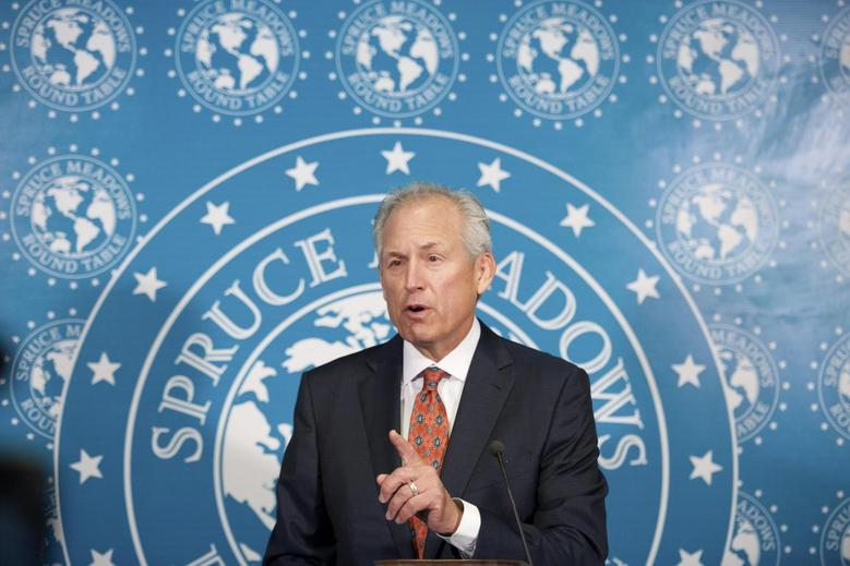 Boeing's Chairman, President and Chief Executive Officer James McNerney Jr. addresses the media at a news conference in Calgary, Alberta September 6, 2013. REUTERS/Mike Sturk