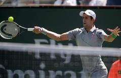 Mar 14, 2014; Indian Wells, CA, USA; Novak Djokovic (SRB) during his match against Julien Benneteau (not pictured) at the BNP Paribas Open at Indian Wells Tennis Garden. Djokovic won 6-1, 6-3. Mandatory Credit: Jayne Kamin-Oncea-USA TODAY Sports