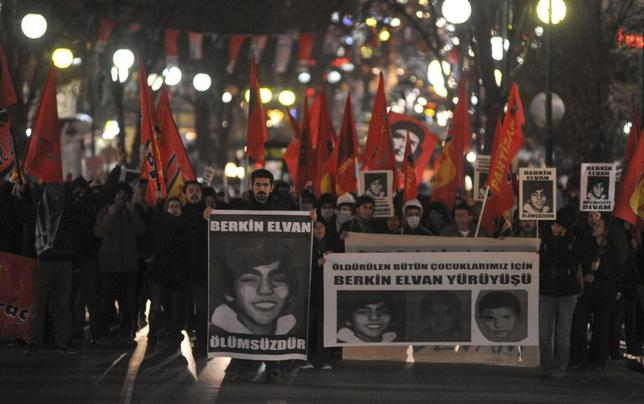 Anti-government protesters march as they carry portraits of Berkin Elvan in Ankara March 14, 2014. REUTERS/Stringer
