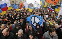 Антивоенная демонстрация в Москве 15 марта 2014 года. REUTERS/Maxim Shemetov