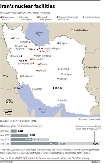 Map locating nuclear facilities in Iran. REUTERS
