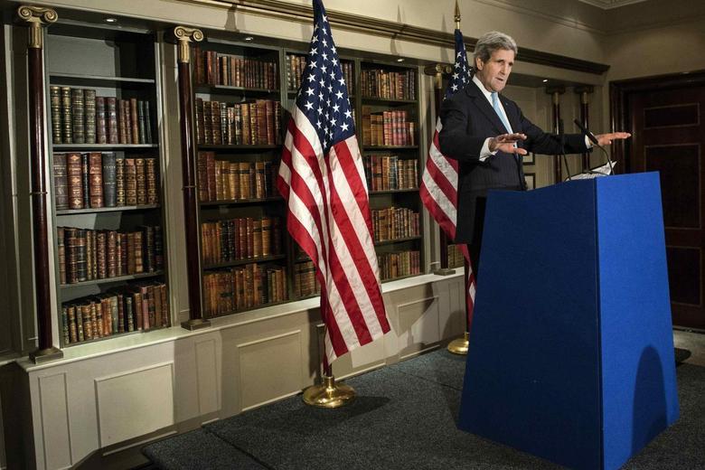 U.S. Secretary of State John Kerry speaks during a press conference in London March 14, 2014. REUTERS/Brendan Smialowski/Pool