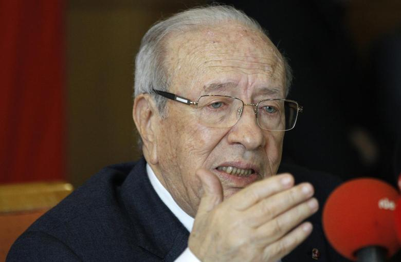 Beji Caid Essebsi, former Tunisian prime minister and leader of the Nida Touns (Call of Tunisia) secular party, speaks during a news conference in Tunis February 19, 2014. REUTERS/Anis Mili