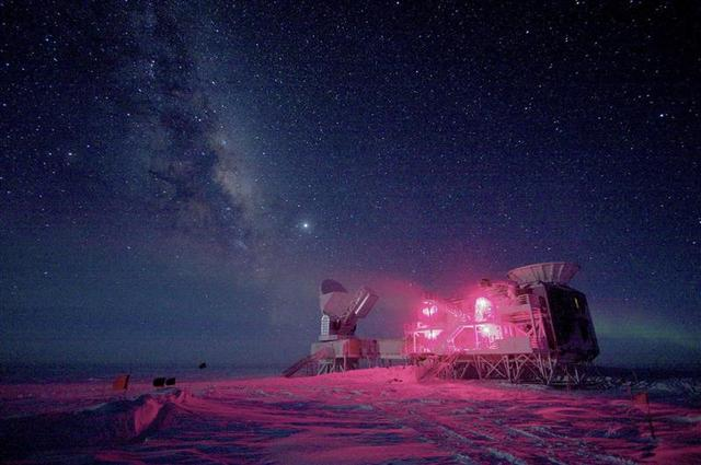 The 10-meter South Pole Telescope and the BICEP (Background Imaging of Cosmic Extragalactic Polarization) Telescope at Amundsen-Scott South Pole Station is seen against the night sky with the Milky Way in this National Science Foundation picture taken in August, 2008. REUTERS/Keith Vanderlinde/National Science Foundation/Handout