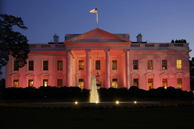 The White House is seen lit pink to observe Breast Cancer Awareness Month in Washington October 24, 2013. REUTERS/Jonathan Ernst