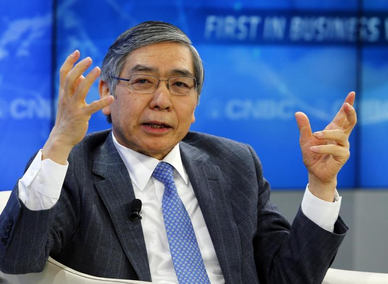 Haruhiko Kuroda, Governor of the Bank of Japan gestures during a session at the annual meeting of the World Economic Forum (WEF) in Davos January 24, 2014. REUTERS/Denis Balibouse