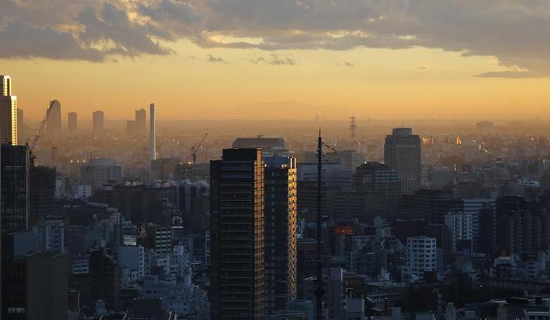 High-rise buildings are seen during sunset in Tokyo December 10, 2013. REUTERS/Toru Hanai