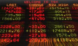 A sign shows TSX information in Toronto September 15, 2008. REUTERS/Mark Blinch