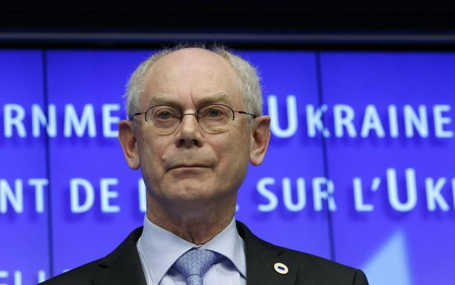 European Council President Herman Van Rompuy speaks at a news conference at the end of a European leaders emergency summit on Ukraine, in Brussels March 6, 2014. REUTERS/Yves Herman