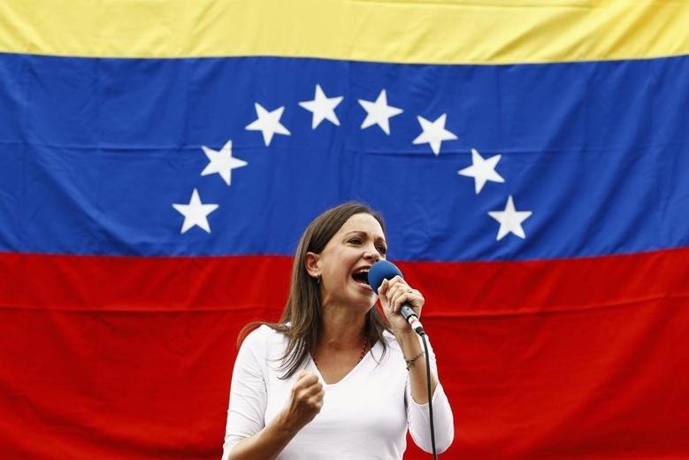 Opposition deputy Maria Corina Machado speaks during a rally against Nicolas Maduro's government in Caracas March 3, 2014. REUTERS/Carlos Garcia Rawlins