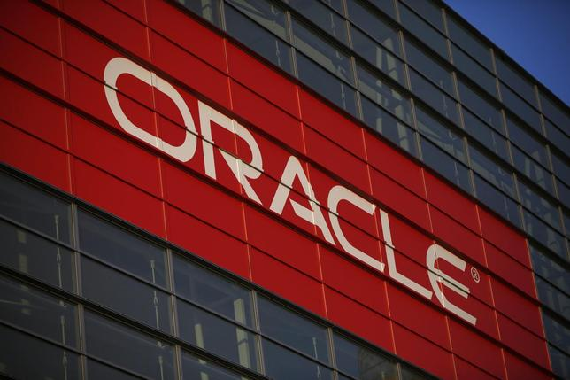 Oracle signage is seen outside Mocsone Center during Oracle OpenWorld 2012 in San Francisco, California in this October 1, 2012 file photograph. REUTERS/Stephen Lam/Files