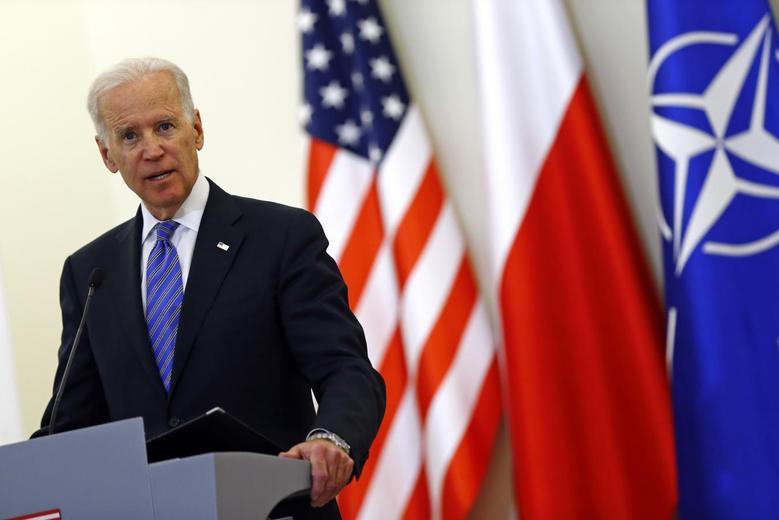 U.S. Vice President Joe Biden addresses to media after meeting Polish President Bronislaw Komorowski in Warsaw March 18, 2014. REUTERS/Kacper Pempel