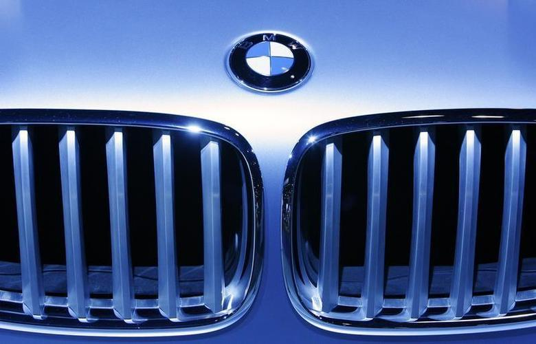 A BMW logo is illuminated on the grill of a car at the 2009 New York International Auto Show April 9, 2009. REUTERS/Lucas Jackson