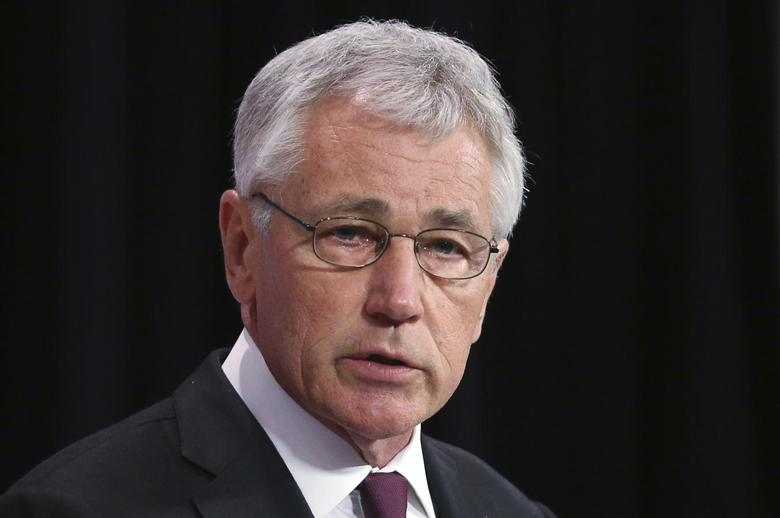 U.S. Secretary of Defense Chuck Hagel addresses a news conference during a NATO defence ministers meeting at the Alliance headquarters in Brussels February 27, 2014. REUTERS/Francois Lenoir