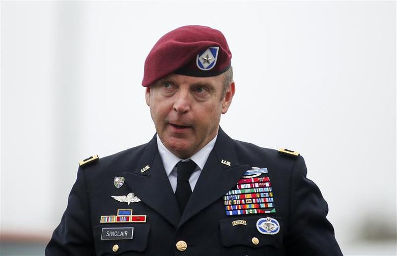 U.S. Army Brigadier General Jeffrey Sinclair arrives at the courthouse at Fort Bragg in Fayetteville, North Carolina March 19, 2014. REUTERS/Chris Keane