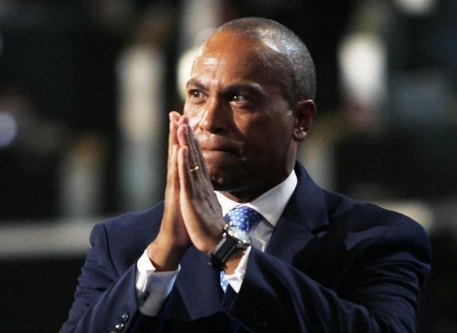 Massachusetts Governor Deval Patrick gestures while addressing the first session of the Democratic National Convention in Charlotte, North Carolina September 4, 2012. REUTERS/Jessica Rinaldi