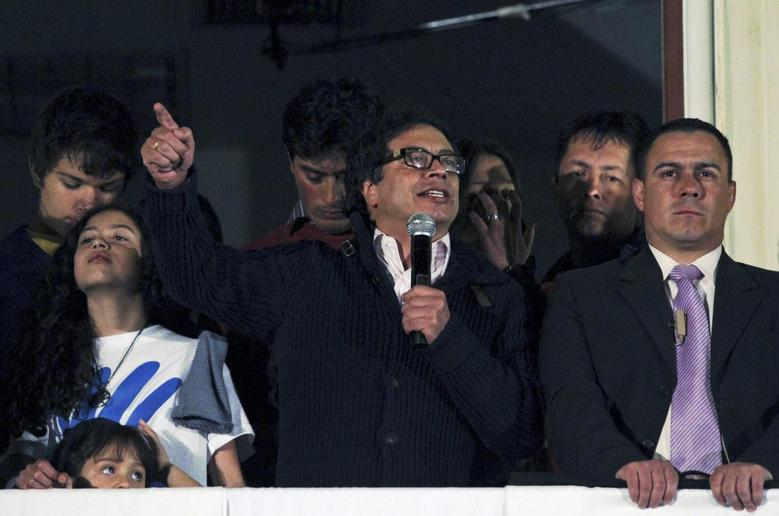 Bogota's Mayor Gustavo Petro gives a speech during a protest at Mayor building in Bogota city February 28, 2014 file photo. REUTERS/Fredy Builes