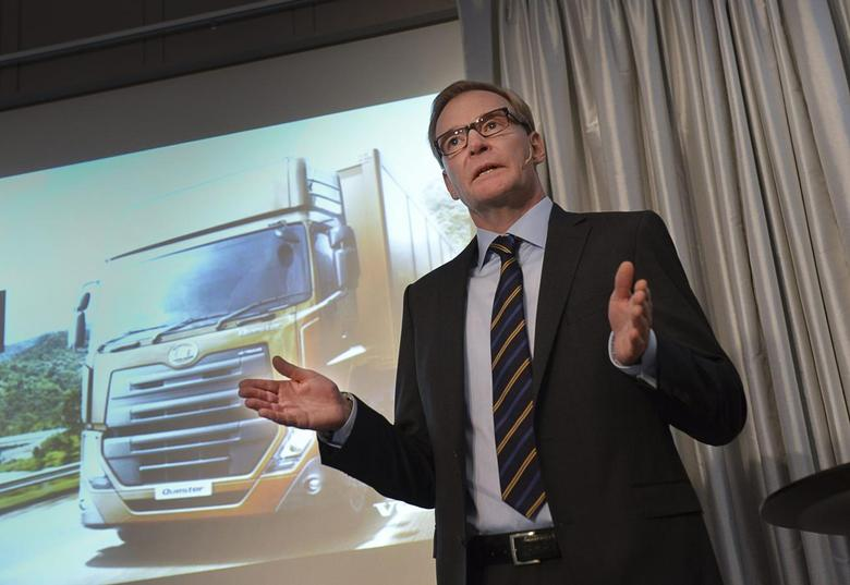 Volvo Chief Executive Olof Persson gestures during a news conference in Stockholm October 25, 2013. Volvo AB truck maker presented the result for the third quarter 2013. REUTERS/Jonas Ekstromer/TT News Agency