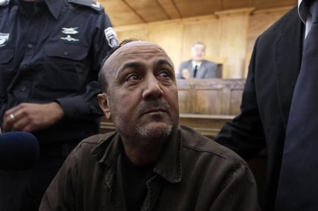 Jailed Fatah leader Marwan Barghouti attends a deliberation at Jerusalem Magistrate's court January 25, 2012. REUTERS/Ammar Awad