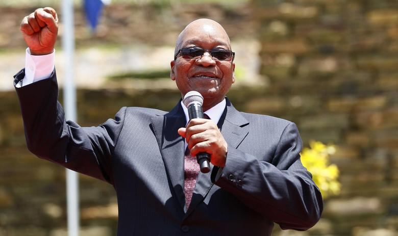 South Africa's President Jacob Zuma addresses the media after unveiling a 9-metre (30-feet) bronze statue of the late former President Nelson Mandela as part of the Day of Reconciliation Celebrations at the Union Buildings in Pretoria December 16, 2013. REUTERS/Thomas Mukoya