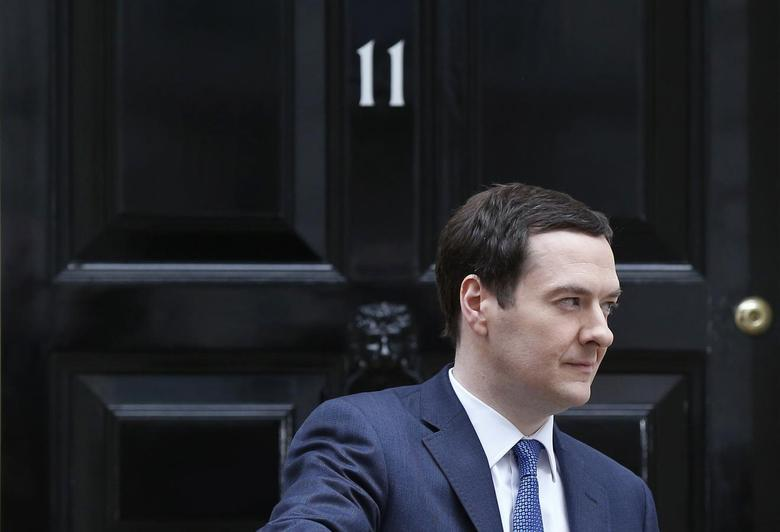 Britain's Chancellor of the Exchequer, George Osborne, leaves number 11 Downing Street, before delivering his budget to the House of Commons, in central London March 19, 2014. REUTERS/Suzanne Plunkett