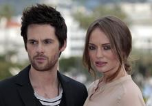 Actors Laura Haddock and Tom Riley attend a photocall for the television series 'Da Vinci's Demons' as part of the MIPTV, the International Television Programs Market, event in Cannes April 8, 2013. REUTERS/Eric Gaillard
