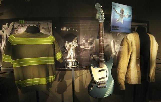 Rarely displayed memorabilia including iconic clothing and musical instruments of the late Kurt Cobain of the legendary grunge band Nirvana, are on display at the ''Nirvana: Taking Punk to the Masses'' exhibition of the Experience Music Project (EMP) in Seattle on April 15, 2011. REUTERS/Anthony Bolante/Files