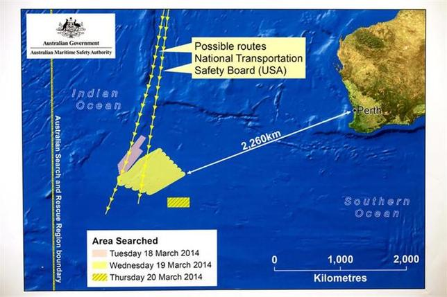 A diagram showing the search area for Malaysia Airlines Flight MH370 in the southern Indian Ocean is seen during a briefing by John Young, general manager of the emergency response division of the Australian Maritime Safety Authority (AMSA), in Canberra March 20, 2014. REUTERS/Sean Davey