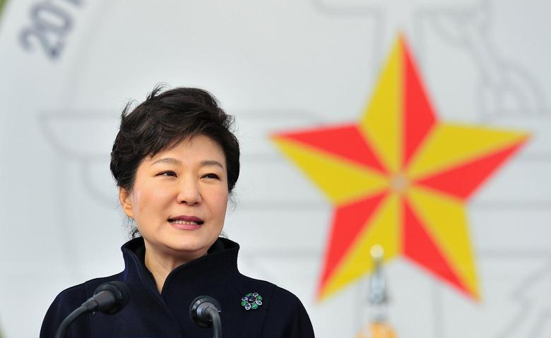 South Korean President Park Geun-hye speaks during a joint commissioning ceremony for 5,860 new officers from the Army, Navy, Air Force and Marines at the military headquarters in Gyeryong, south of Seoul March 6, 2014. REUTERS/Jung Yeon-je/Pool
