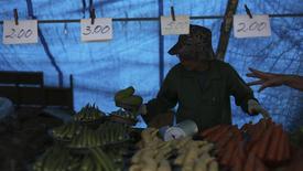 Un verdulero en una feria libre en Vila Madalena, Brasil, nov 9 2013. La inflación en Brasil se aceleró en el mes hasta mediados de marzo, ya que un tiempo seco y caluroso en las áreas más pobladas del país afectó los cultivos y elevó los precios de los alimentos, informó el viernes el Instituto Brasileño de Geografía y Estadística (IBGE). REUTERS/Nacho Doce