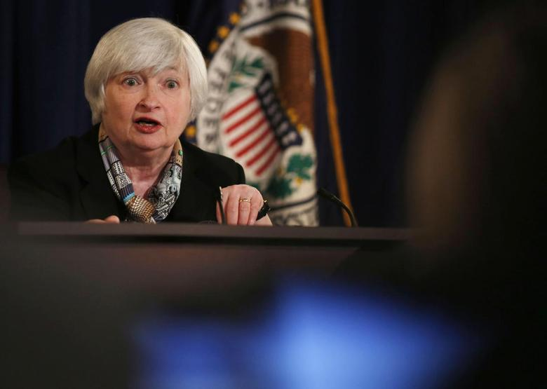 Federal Reserve Chair Janet Yellen addresses a question at a news conference following the March 2014 Federal Open Market Committee meeting, while at the Board of Governors of the Federal Reserve System in Washington, March 19, 2014. REUTERS/Larry Downing