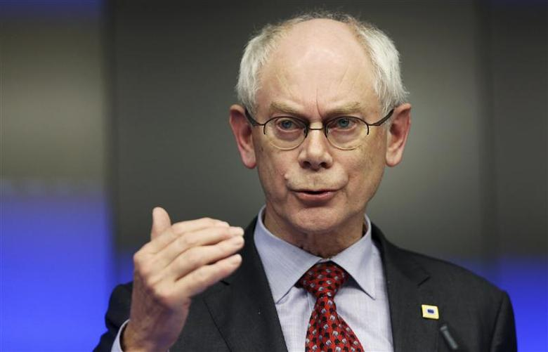 European Council President Herman Van Rompuy addresses a news conference after a European Union leaders summit in Brussels March 21, 2014. REUTERS/Francois Lenoir