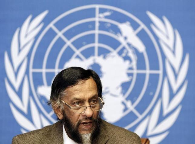 Rajendra Pachauri, Chair of the Intergovernmental Panel on Climate Change (IPCC), briefs the media on the Task Force on National Greenhouse Gas Inventories at the United Nations European headquarters in Geneva June 7, 2012. REUTERS/Denis Balibouse